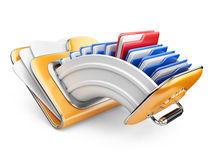 Cloud storage concept. Data storage on servers in cloud. 3D image isolated on white Stock Photo