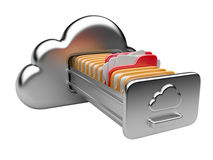Cloud storage concept. Data storage on servers in cloud. 3D image isolated on white Royalty Free Stock Photos