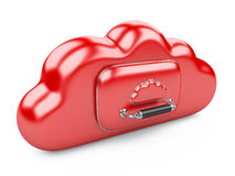 Cloud storage concept. Data storage on servers in cloud. 3D image  on white Stock Photo