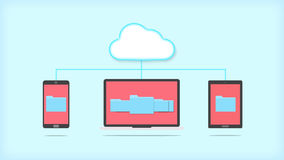 Cloud storage concept. Devices of smart phone, tablet and laptop with folders in the cloud Stock Image