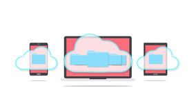 Cloud storage concept. Devices of smart phone, tablet and laptop with folders in the cloud Royalty Free Stock Image