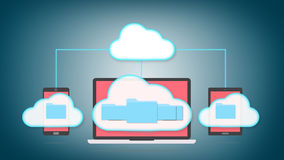 Cloud storage concept. Devices of smart phone, tablet and laptop with folders in the cloud Stock Photos