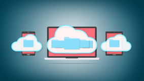 Cloud storage concept. Devices of smart phone, tablet and laptop with folders in the cloud Royalty Free Stock Photo