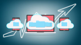 Cloud storage concept. Devices of smart phone, tablet and laptop with folders in the cloud Stock Images