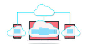 Cloud storage concept. Devices of smart phone, tablet and laptop with folders in the cloud Stock Photography