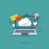 Cloud storage. Cloud Storage Concept. Flat illustration royalty free illustration