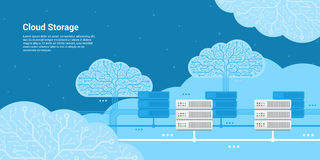 Cloud storage concept. Flat style banner, cloud storage, cloud server concept Royalty Free Stock Photos
