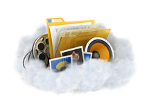 Cloud storage. Cloud storage concept illustration. Cloud with a files isolated on white Royalty Free Stock Photos