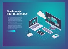 Cloud storage concept isometric design. Cloud storage concept background. Computer, laptop, smartphone, wi-fi router, hard drive connection on blue background Stock Image