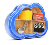 Cloud storage concept. On white background. 3d render Royalty Free Stock Photography
