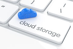 Cloud storage concepton the white computer enter button. 3d rendering of cloud storage concepton the white computer enter button Royalty Free Stock Photos