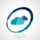 Cloud storage, 3d company logo, minimal design. Cloud storage, 3d company logo, business symbol concept, minimal line style Royalty Free Stock Photos