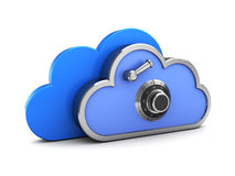 Cloud storage. 3d illustration of protected cloud storage concept Stock Photo