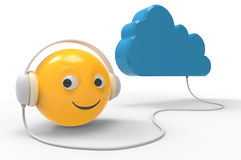 Cloud storage with smiley symbol Stock Images