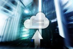 Cloud storage, data access, login and password request window on server room background. Internet and technology concept.  royalty free stock image
