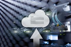 Cloud storage, data access, login and password request window on server room background. Internet and technology concept.  royalty free stock photo