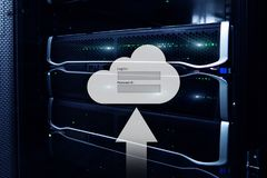 Cloud storage, data access, login and password request window on server room background. Internet and technology concept.  stock image