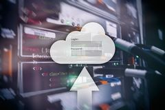 Cloud storage, data access, login and password request window on server room background. Internet and technology concept royalty free stock image