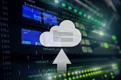 Cloud storage, data access, login and password request window on server room background. Internet and technology concept.  royalty free stock photography