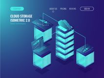 Cloud storage data, crm system access and device synchronization, Server conncetion, statistic and analysis charts. Isometric vector Royalty Free Stock Images