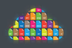 Cloud Storage Data File Types Document Icons. File extension types in feathered cloud shape. PDF, DOCX etc. On dark background vector illustration