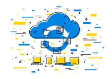 Cloud storage data transfer vector illustration Royalty Free Stock Image