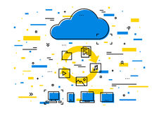 Cloud storage data transfer vector illustration Royalty Free Stock Images