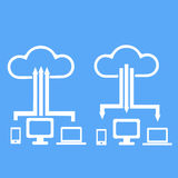 Cloud storage with different communication devices. Graphic vector eps10 Royalty Free Stock Image