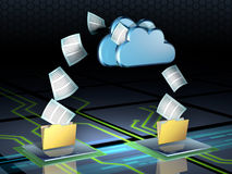 Cloud storage. Documents flying out of some folders and into a cloud storage system. Digital illustration Royalty Free Stock Image