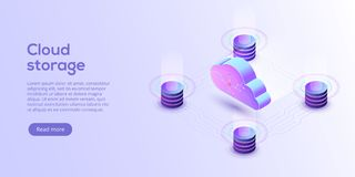 Cloud storage download isometric vector illustration. Digital se. Rvice or app with data transfering. Online computing technology. 3d servers and datacenter vector illustration