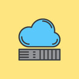 Cloud storage filled outline icon, Network drive colorful vector sign. Royalty Free Stock Photo