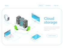 Cloud storage flat isometric vector concept. Stock Images