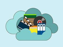 Cloud storage, folder with files of different formats. Document information, archive web, download and upload, flat vector illustration. Hand drawn cartoon Royalty Free Stock Photos