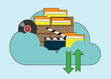 Cloud storage, folder with files of different formats. Document information, archive web, download and upload, flat vector illustration. Hand drawn cartoon Stock Photo