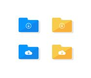 Cloud storage folder icon set. Cloud storage icon set. Folder download files collection flat design illustration Stock Images