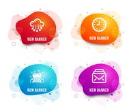 Cloud storage, Gift and Clock icons. Mail sign. Data service, Present, Time or watch. New messages. Vector. Liquid badges. Set of Cloud storage, Gift and Clock stock illustration