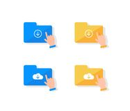 Cloud storage icon set. Hand pressing on folder icon to download files flat design illustration Stock Images