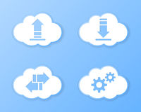 Cloud storage icons. Paper cloud storage icons. Vector illustration Royalty Free Stock Photography