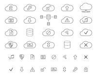 Cloud Storage Icons Set. Outlined. Thin line Stock Photos