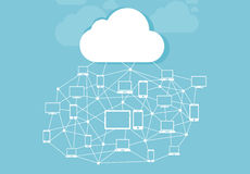 Cloud and storage of information with icons Royalty Free Stock Image