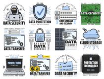 Free Cloud Storage, Internet Data Security Icons Stock Photos - 159783913