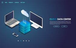 Cloud storage isometric banner. Isometric laptop, monitor and mobile phone connected to cloud storage server with isometric cloud icon. Site landing page or Royalty Free Stock Images