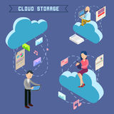 Cloud Storage Isometric Computer Technology Royalty Free Stock Image