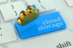 Cloud storage on keyboard button Stock Photos