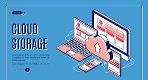 Cloud storage landing page on retro background royalty free stock photography