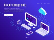 Cloud storage landing page. Synchronization clouds storages and devices, data backup and synchronize apps vector. Cloud storage landing page. Synchronization vector illustration