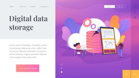 Cloud storage landing page template. royalty free illustration