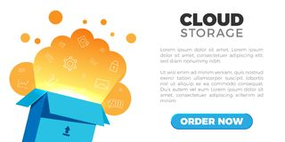 Cloud storage landing. Cloud storage web site, banner design template. Box with cloud inside, light effects and web linear icons. Text block, button.  on white Stock Photos
