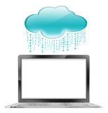 Cloud storage with Laptop on white background. General Technology concept. Laptop with blank screen and cloud storage icon stock illustration