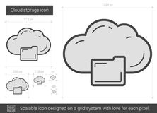 Cloud storage line icon. Cloud storage vector line icon isolated on white background. Cloud storage line icon for infographic, website or app. Scalable icon Royalty Free Stock Image